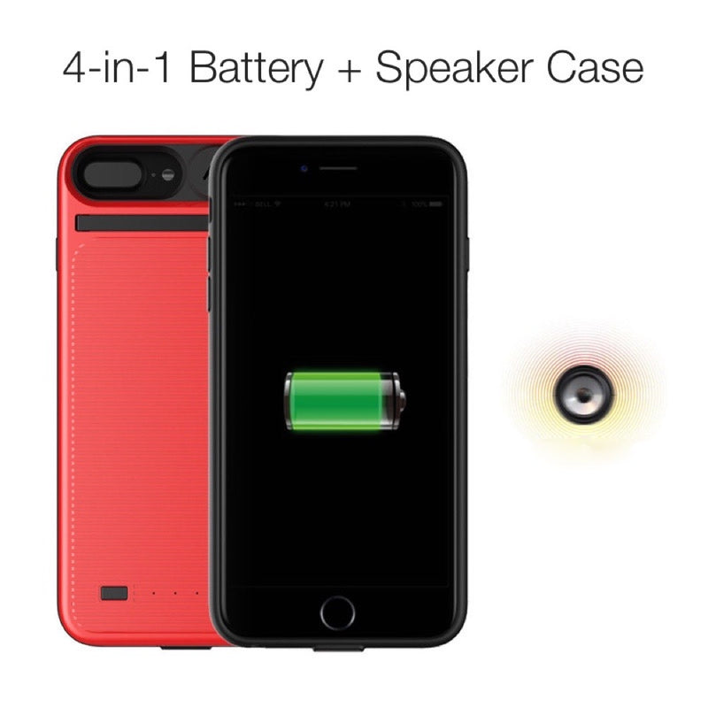 best sneakers f9ff4 8ca95 4-In-1 Speaker + Battery Case For iPhone 8 Plus, 8, 7, 6s And More