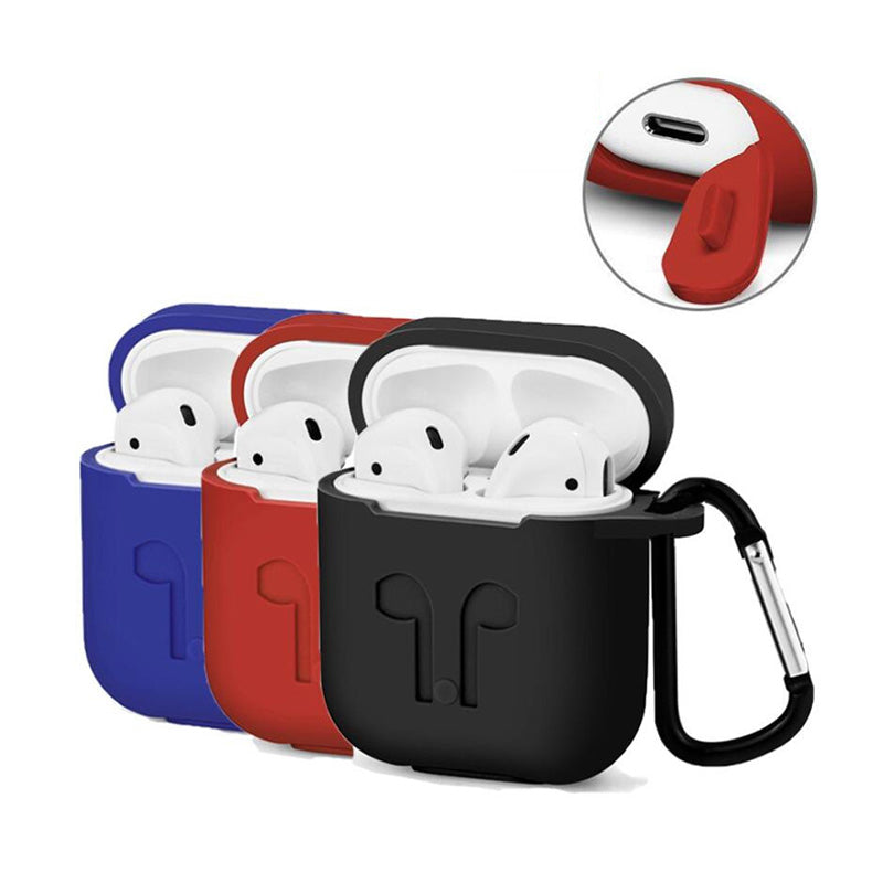 Apple AirPods Soft Silicone Cover With Dust Plug & Carabiner