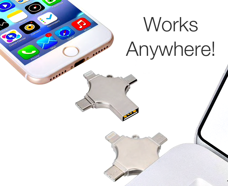 All-In-One Flash Drive With Built-In Lightning, USB-C, USB-A & Micro USB Connector