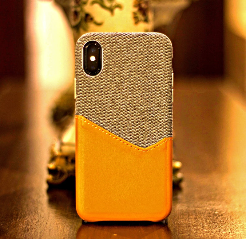 2-In-1 Fabric + Leather iPhone X Protective Wallet Case With Slot For Cards, Passes And Cash