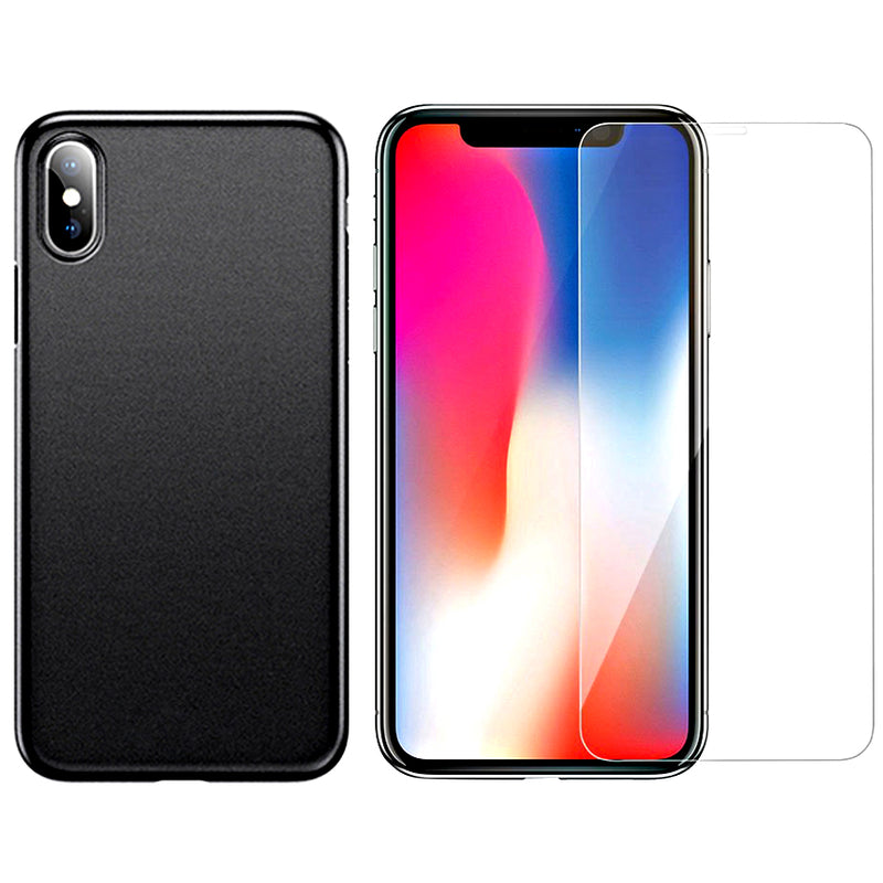 iPhone XS / XS Max Ultra-Slim Case + Free Tempered Glass Screen Protector Bundle