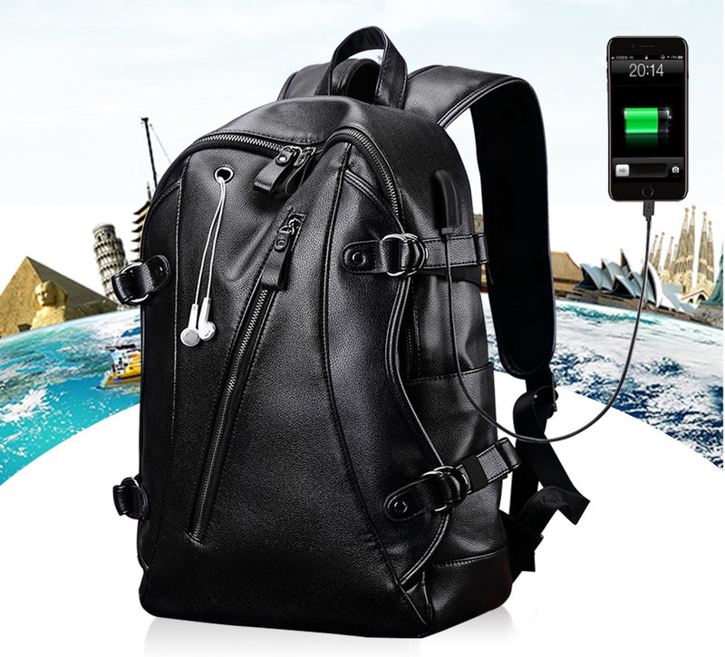 Leather Tech Backpack With USB Charging Port, Headphones Cord Hole