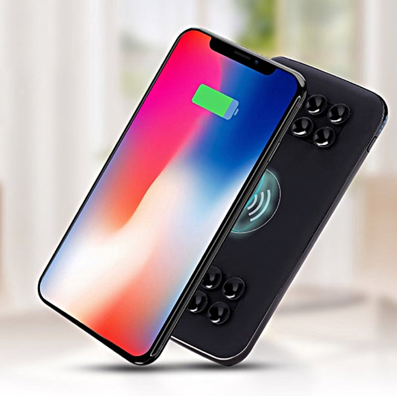 10,000mAh Qi Wireless Power Bank With Suction Cups + USB-C Input For iPhone And Other Devices