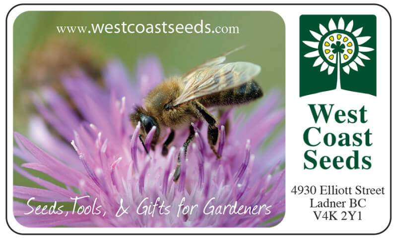 West Coast Seeds Bee Gardener Gift Card GC003 P
