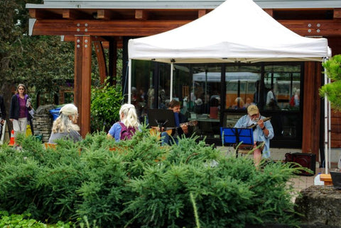 HCP Gardens Music & Art Event, people playing instruments on patio