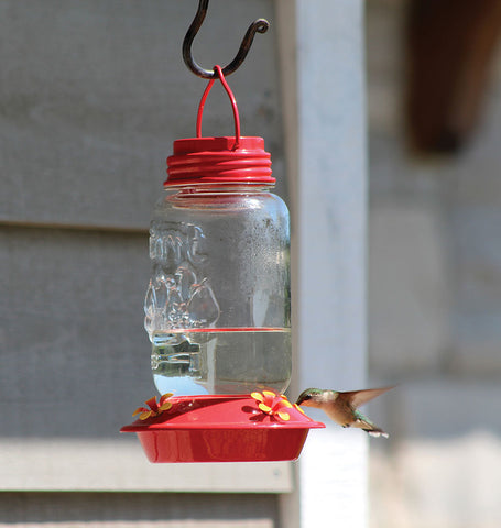 Mason Jar Glass Hummingbird Feeder