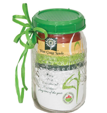 Sprouting Jar With Plastic Lid And Seed West Coast Seeds