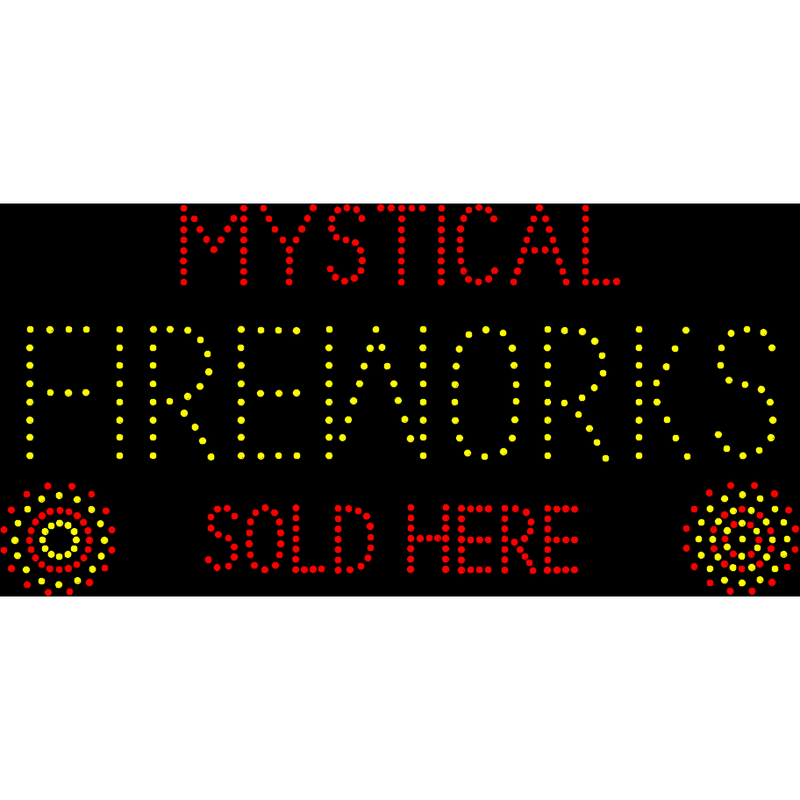 "LED ""FIREWORKS SOLD HERE"" sign"