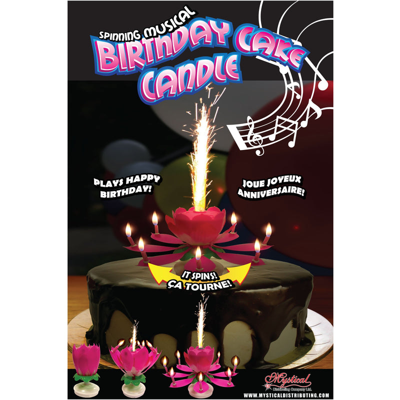 Spinning Musical Birthday Cake Candle