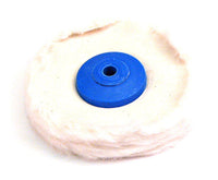 Finex Muslin Buffs with Plastic Centers (also known as rag wheels) are unstitched.  These are of superior quality, soft textured, and perfect for use with rouge to produce a high finish.