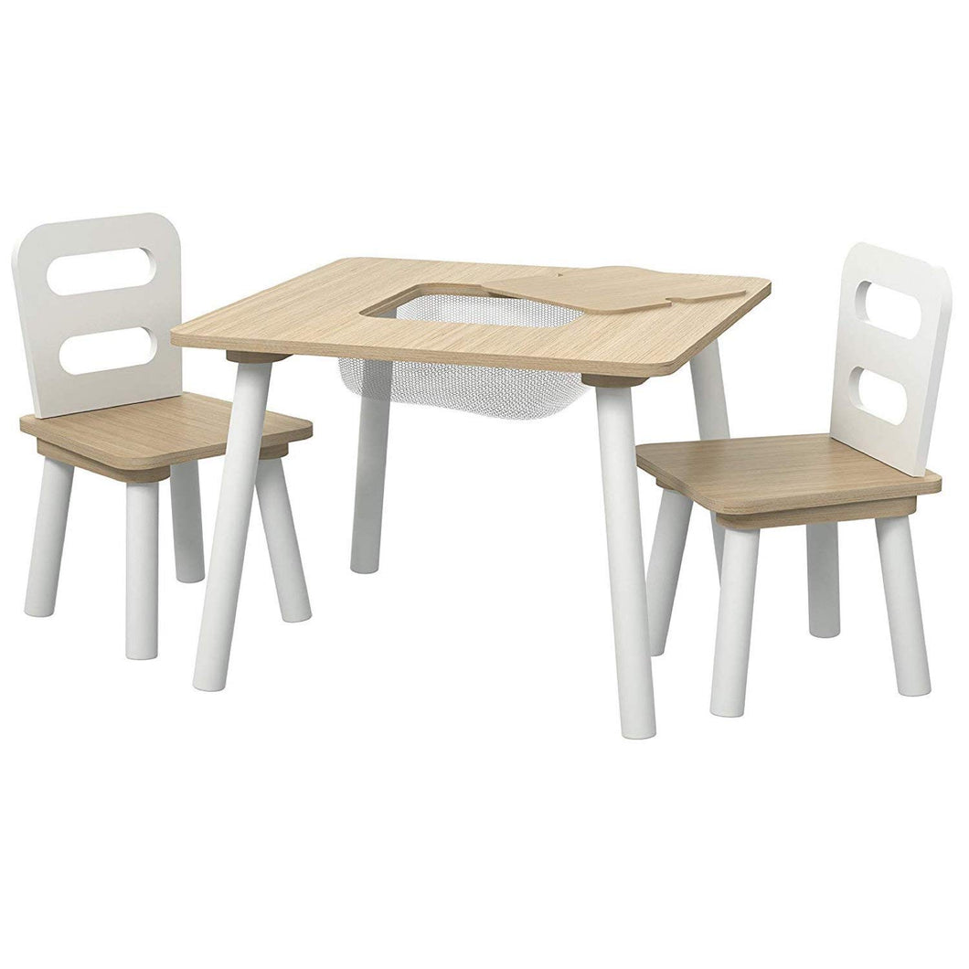Pidoko Kids Table and Chairs Set with Storage - Natural/White