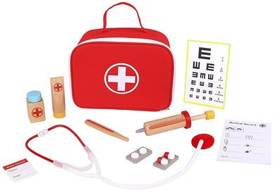 Wooden Doctors Kit Play Set includes 11 accessories