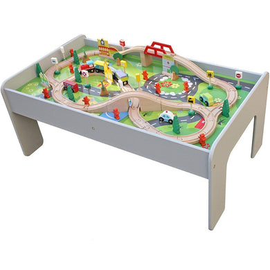 Train Table, Grey with 90 Pcs Train Set and Accessories