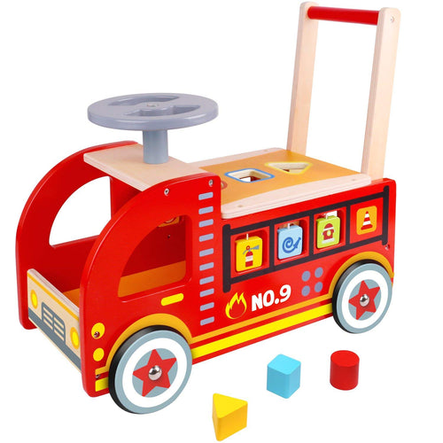 Ride On Fire Truck - Wooden Push and Pull Walker Cart