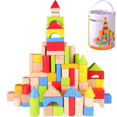 Wooden Building Blocks Set, 100 Pcs - Includes Carrying Container