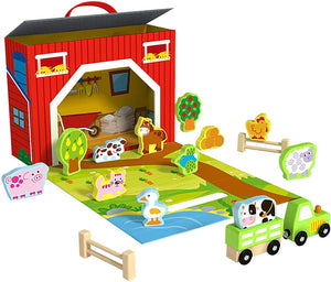 Pidoko Kids Foldable Farm Play Set - Barn Includes 17 Pcs Accessories - Wooden Toys for 3 Year Old and Up Gifts