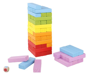 Wooden Stacking and Tumbling Blocks Game - 48 Pieces Premium Quality Set Tower and Dice