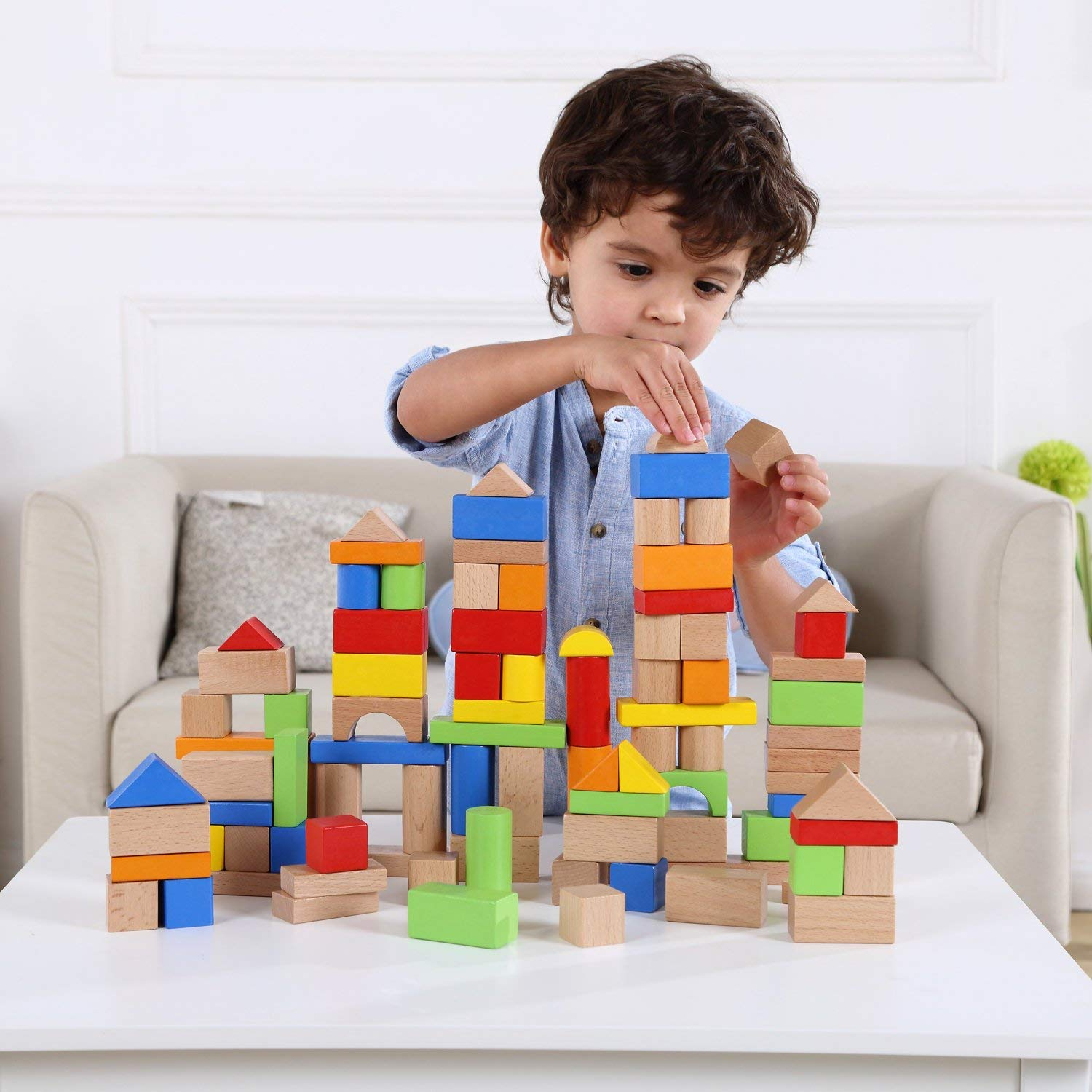 Wooden Building Blocks Set 100 Pcs Pidoko Kids