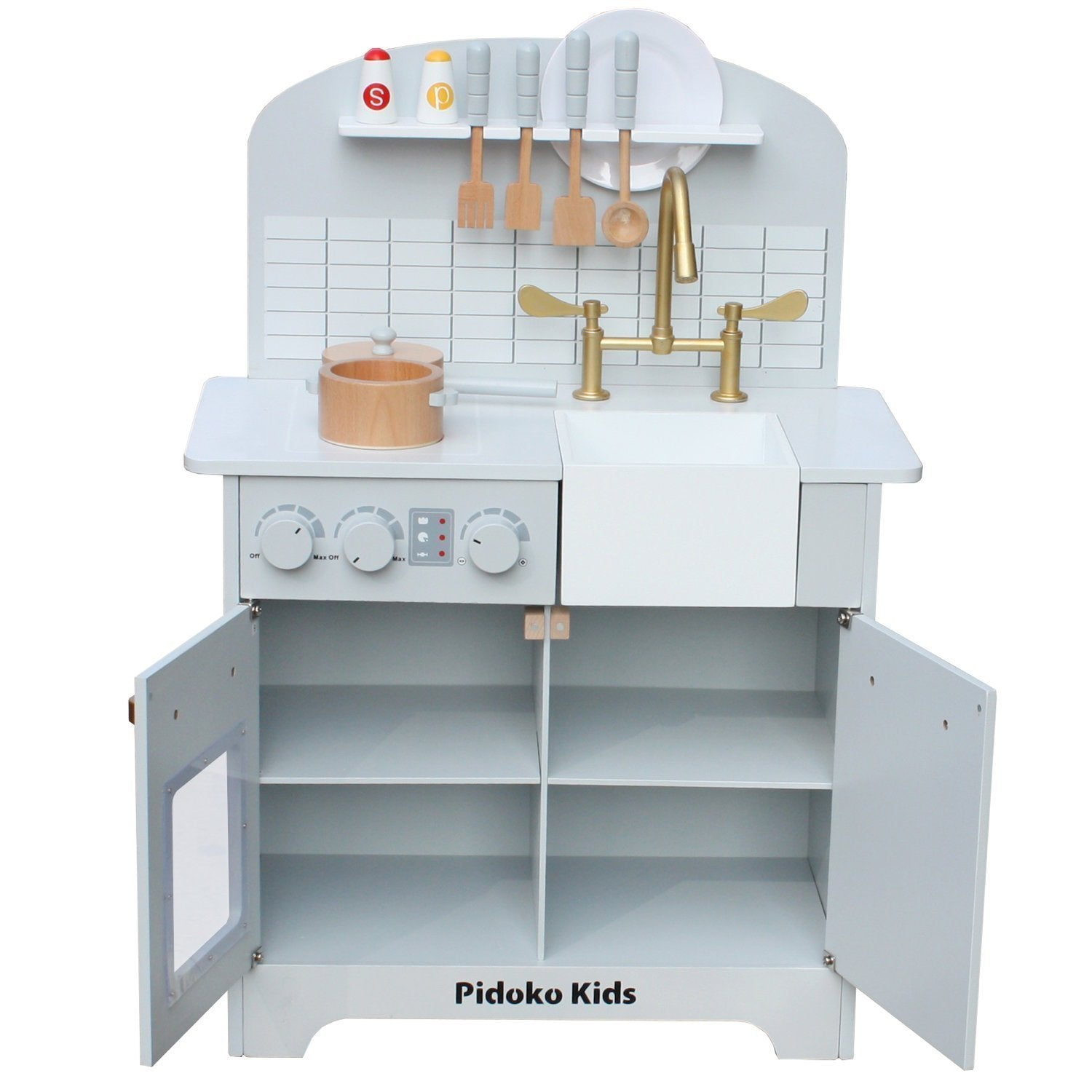 Grey Toy Kitchen Set with Accessories, Gray Play Kitchen – Pidoko Kids