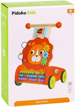 Pidoko Kids Lion Baby Walker Cart - Wooden Activity Center Push and Pull Toy - for 1 Year Old and Up
