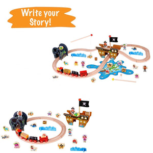 Pirate Theme Wooden Train Set - 72 Pcs - Includes Magnet Fishing Pole
