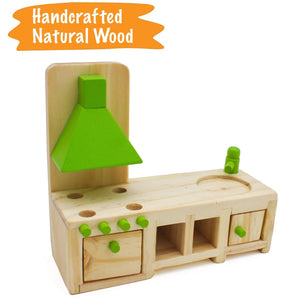 Wooden Dollhouse Furniture Set (42 Pcs) - 5 Rooms Fully Furnished Bundle