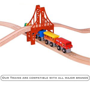 Wooden Train Set - 12 Pcs Engines Cars - Compatible with Thomas Train Set Tracks and Major Brands