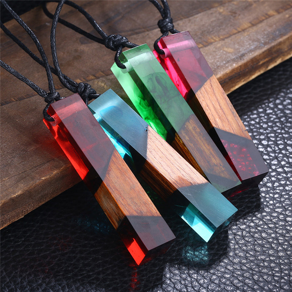 Handmade Vintage Resin Wood Necklaces - Blue/Red/Green