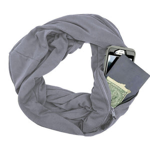 Anti Theft Scarf With Infinity Zipper Pocket