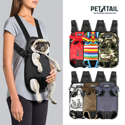 PETTAIL Amazon Pet Products - Dog Kangaroo Pouch Front Pet Backpack Carrier, Wide Straps Shoulder Pads, Adjustable Legs Out Pet Backpack Carrier
