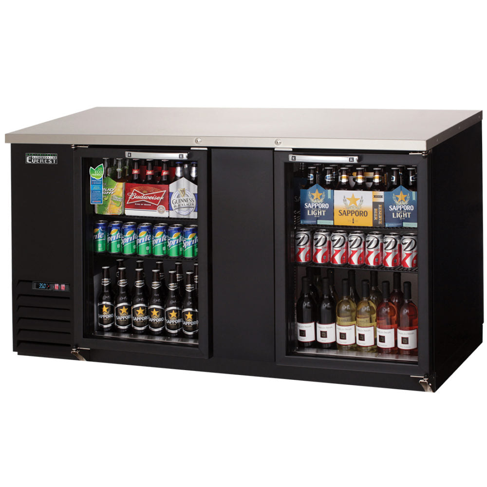 Everest Black Swing Glass Two Doors Back Bar Refrigerator