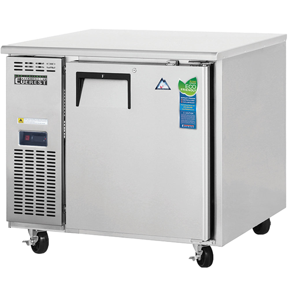 Everest Stainless Steel Solid One Door Deep Side Mount Undercounter Freezer Condensing Unit