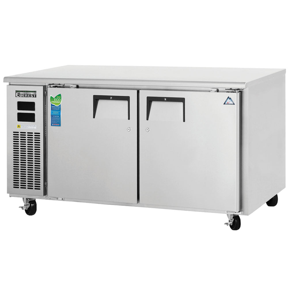 Everest Stainless Steel Swing Solid Two Doors Undercounter Dual Temperature Condensing Unit