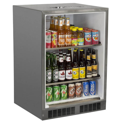 Marvel 24 Inch Built-in Outdoor Beer Dispenser Kegerator, Stainless Steel Door with Lock, Reversible Hinge (MOKR124SS31A)