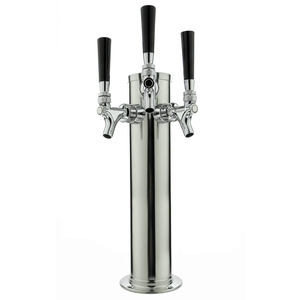 "14"" Tall Polished Stainless Steel Triple Tap Draft Beer Tower - Standard Faucets (Model:DT145-3S)"