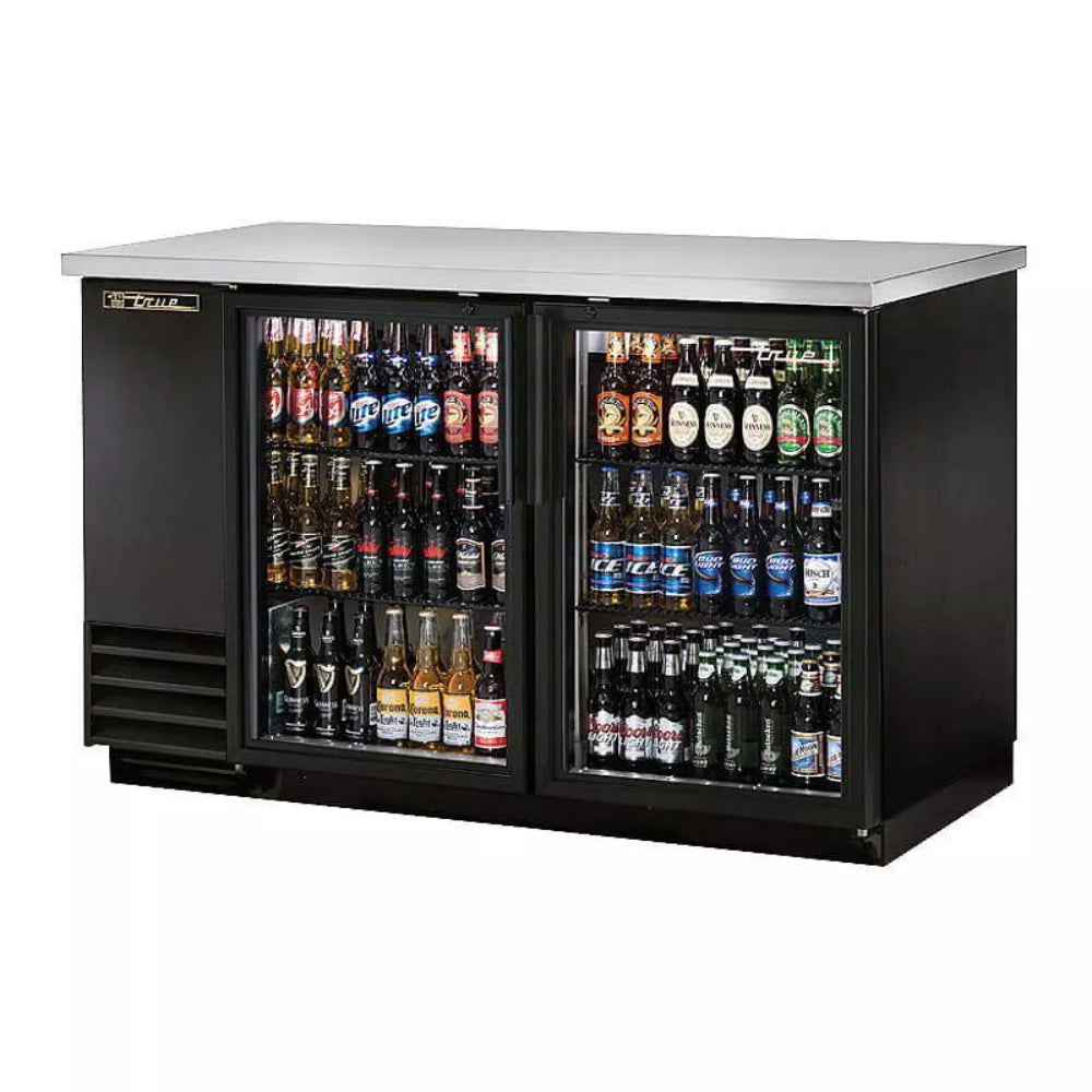 True Stainless Steel 2  Swing Glass Door Back Bar Cooler with LED Lighting