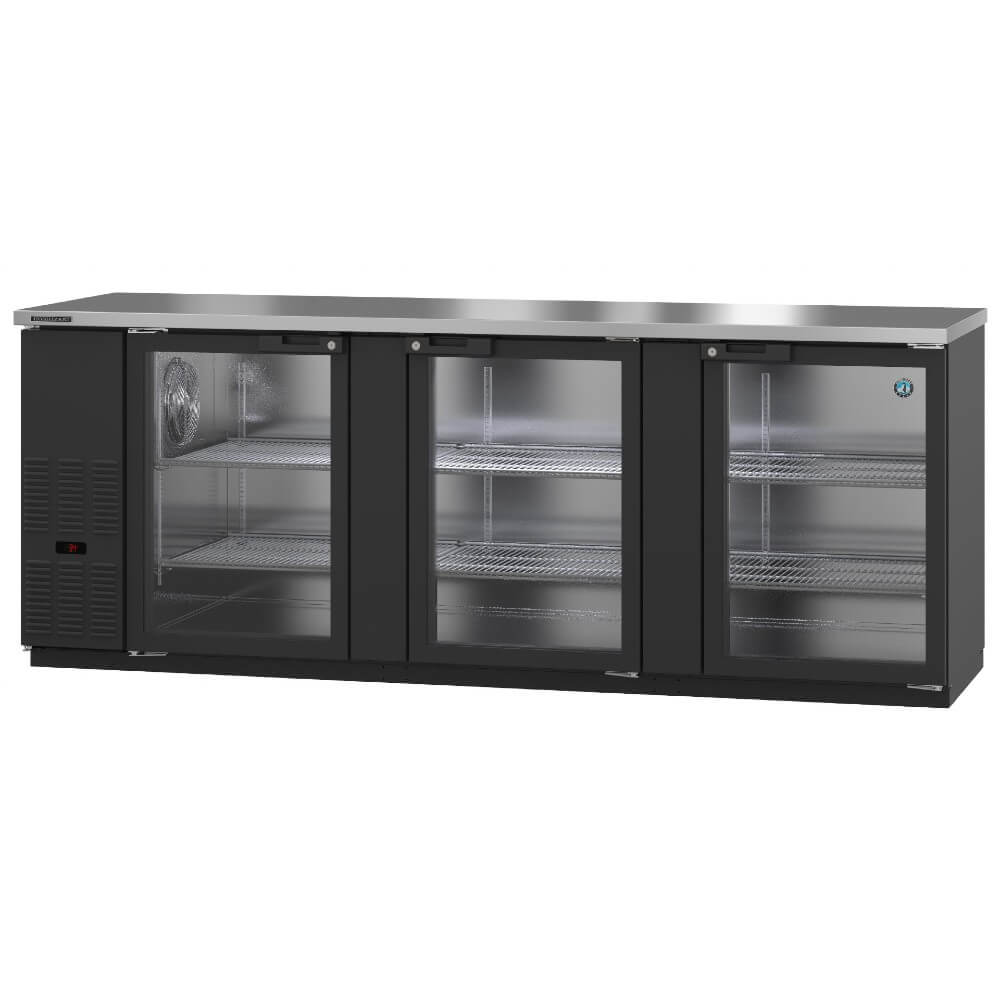 Hoshizaki BB95-G Three Section Glass Doors Black Vinyl Back Bar (Model: BB95-G)