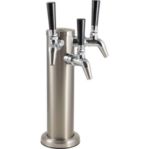 KOMOS Triple Tap Stainless Draft Tower with Intertap Faucets and Duotight Fittings (Model: D1331C)