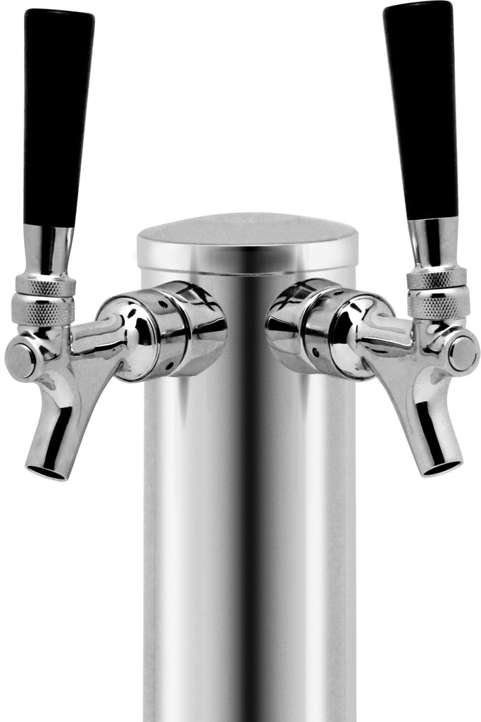 "Chrome Plated Metal Double Tap Draft Beer Tower - 3"" Column (Model:D4743DT)"