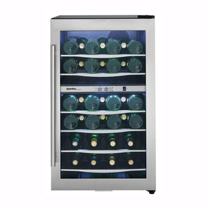 Danby Designer 38-Bottle Freestanding Dual Zone Black/Stainless Steel Wine Cooler (DWC040A3BSSDD)