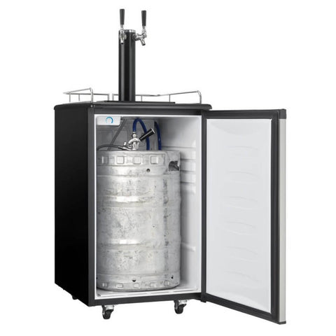 Danby 21-Inch 5.4 Cu. Ft. Freestanding Indoor Dual Tap Kegerator, Reversible Door Hinge (Model: DKC054A1BSL2DB)