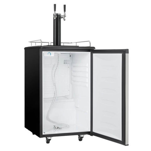 Image of Danby 21-Inch 5.4 Cu. Ft. Freestanding Indoor Kegerator with Dual Taps, Mechanical Temperature Control, Automatic Defrost, and Reversible Door Hinge (Model: DKC054A1BSL2DB)
