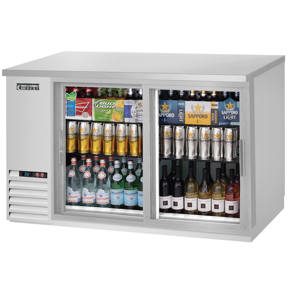 Everest Stainless Steel Two Door Sliding Glass Back Bar Cooler
