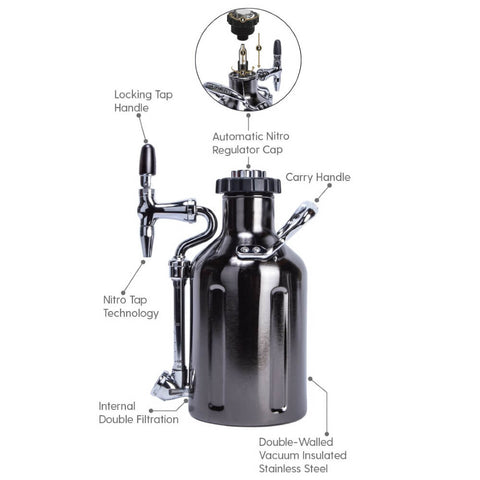 Image of GrowlerWerks UKeg Nitro 50 oz Cold Brew Coffee Maker, Black Chrome (Model: GWA1058-BC-NB-N2)