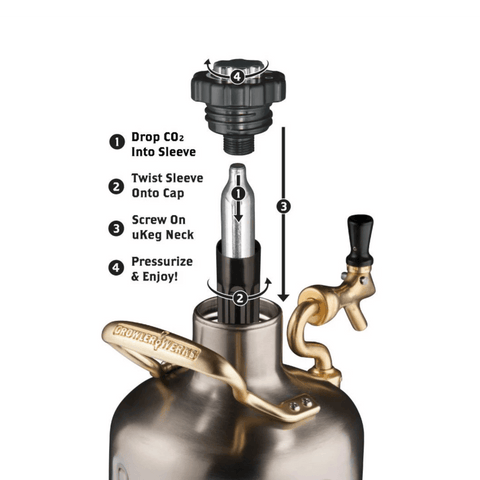 Image of GrowlerWerks UKeg 128 oz Stainless Steel Pressurized Carbonated Growler (Model: GWA1002-ST-NB-00)
