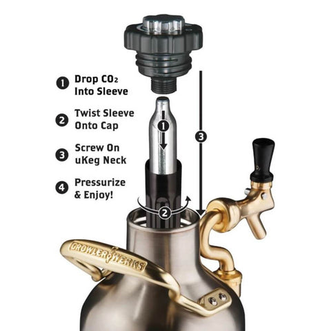 Image of GrowlerWerks UKeg 64 oz Stainless Steel Pressurized Carbonated Growler (Model: GWA1001-ST-NB-00)
