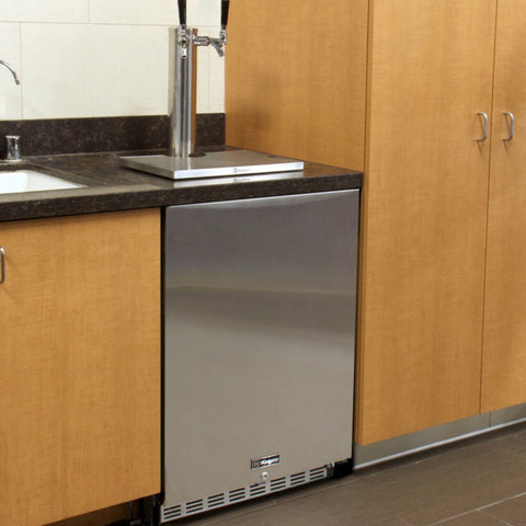 "Image of Kegco 24"" Stainless Steel Right Hinge Double Tap Built-in ADA Kegerator with Kit (HK48BSA-2)"