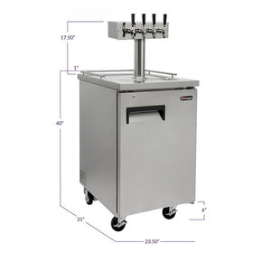 Kegco Four Tap Commercial Grade Kegerator - Stainless Steel (Model: XCK-1S-4)