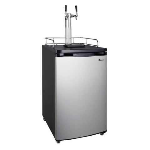 Kegco HBK199S-2NK Wide Freestanding Stainless Steel Dual Tap Home Kegerator