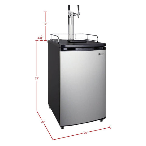 Image of Kegco HBK199S-2NK Wide Freestanding Stainless Steel Dual Tap Home Kegerator
